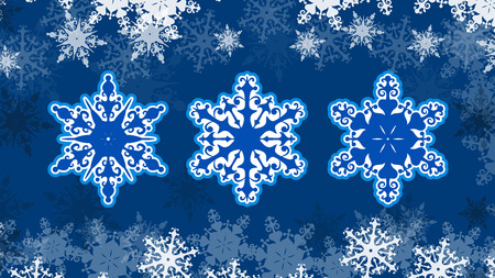 Vector Christmas snowflakes on a beautiful snowy background.