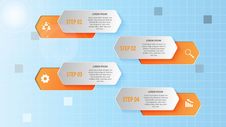 Abstract business infographics in the form of colored figures and steps.