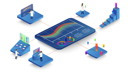 People study dynamic processes in graphs and diagrams. 3d isometric infographics.