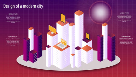 Isometric vector 3d illustration of a modern city design.