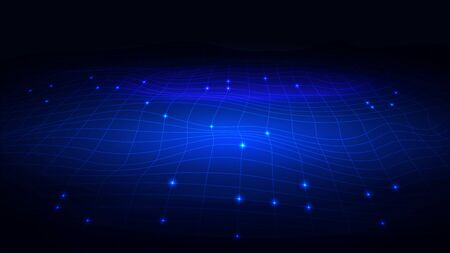 Vector background in the form of an electronic futuristic network with waves.
