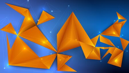 Vector illustration of a low poly, polygonal 3d design with colored triangles.