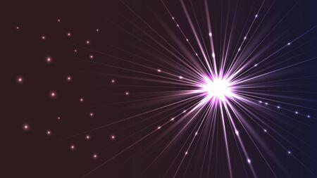 Hintergrund in Form eines leuchtenden hellen Sterns mit Strahlen. Standard-Bild