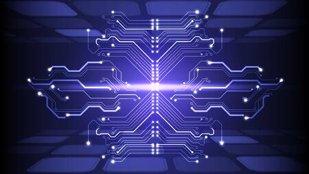 Vector illustration of abstract electrical board, circuit. Abstract science, futuristic, web, network concept.
