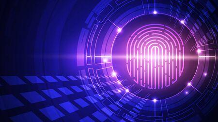 Fingerprint technology vector background. Digital identification.