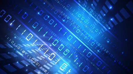 Bytes of zeros and binary units pass through the network. High-tech digital network, communications, high technology.