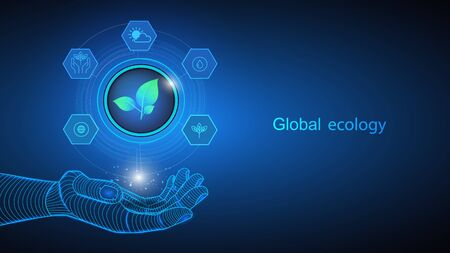 Vector illustration of artificial intelligence holding icons and elements in defense of global ecology in hand. Science, futuristic, web, network concept, communications, high technology. 向量圖像