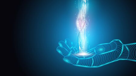 Vector illustration of artificial intelligence holding an energy field in his hands. Science, futuristic, web, network concept, communications, high technology.