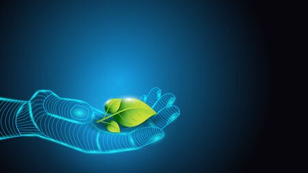 Vector illustration of artificial intelligence holding a plant in hand with green leaves. Science, futuristic, web, network concept, communications, high technology.