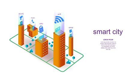 Vector illustration of a building with elements of a smart city. Science, futuristic, web, network concept, communications, high technology. EPS 10. Ilustração