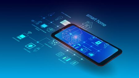Vector illustration of a mobile phone with smart home system elements. Science, futuristic, web, network concept, communications, high technology. EPS 10.