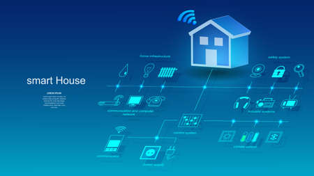 Vector illustration of a building with elements of a smart home system. Science, futuristic, web, network concept, communications, high technology.