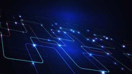 Illustration of a techno technology design of luminous lines on a dark blue background. The modern concept of digital technology.