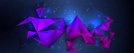 Illustration of a low poly, polygonal 3d design with colored triangles.