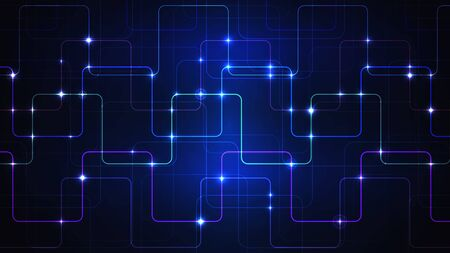 Illustration of a techno technology design of luminous lines on a dark blue background. The modern concept of digital technology