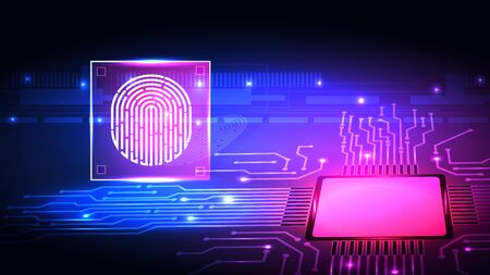 Fingerprint technology background. Digital identification Imagens