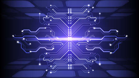 Illustration of abstract electrical board, circuit. Abstract science, futuristic, web, network concept.