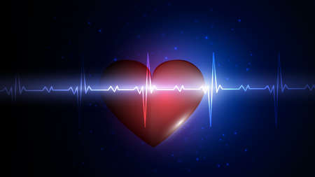 Vector illustration of a human heart on the background of a glowing heart rate graphic. Medicine, health, heart rate, healthy lifestyle.