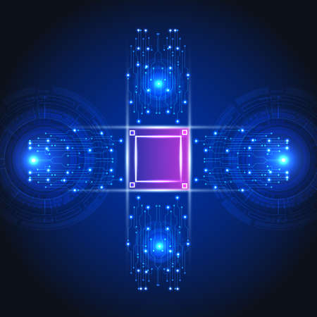 Abstract user HUD interface from glowing futuristic elements.High-tech digital network, communications, high technology.