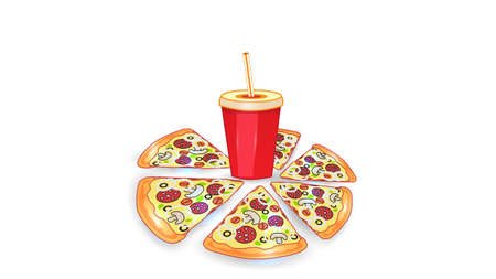 Vector fast food illustration on white isolated background. Pizza slices and a drink. Street fast food lunch or breakfast meal set. EPS 10.