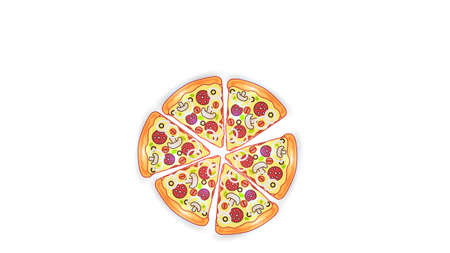 Vector fast food illustration on white isolated background. Pizza slices with sausage, mushrooms, onions and herbs. Street fast food lunch or breakfast. EPS 10.
