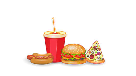 Vector fast food illustration on white isolated background. Pizza, chisburger, hot dog and drink. Street fast food lunch or breakfast meal set. EPS 10.