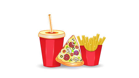 Vector fast food illustration on white isolated background. Pizza, fries and drink. Street fast food lunch or breakfast meal set. EPS 10. Ilustração