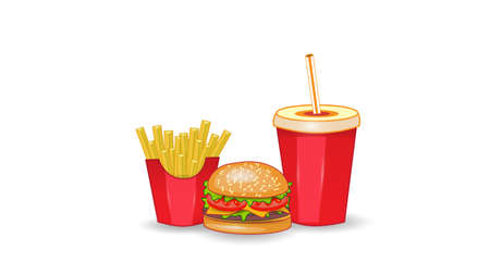 Vector illustration of fast food on white isolated background. Chisburger, french fries and drink. Fast sreet food lunch or breakfast meal set. EPS 10. Ilustração