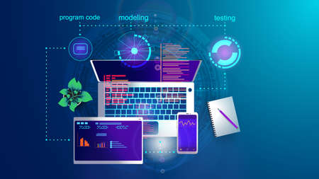 Vector illustration of the concept of developing mobile Internet applications for various platforms on the screen of a laptop, smartphone and tablet. Ilustração