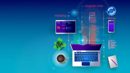 Vector illustration of the concept of developing mobile Internet applications for various platforms on the screen of a laptop, smartphone and tablet. EPS 10.