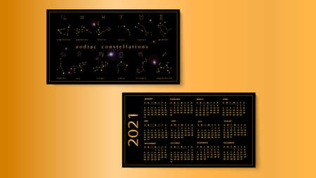 Vector illustration of calendar for 2021 with zodiac constellations.