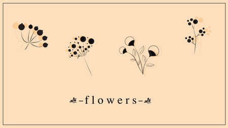 Vector illustration of decorative flowers and plants in black. EPS 10