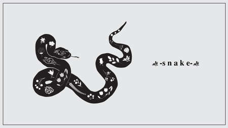 Vector illustration of a black snake with white flowers and plants. EPS 10. Ilustrace