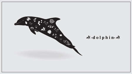 Vector illustration of a dolphin of black color with white flowers and plants.