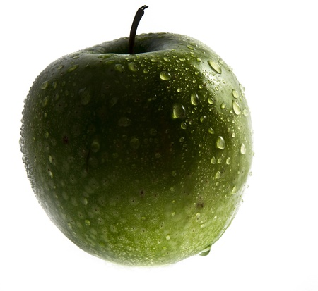 Picture of wet green apple on white background Stock Photo