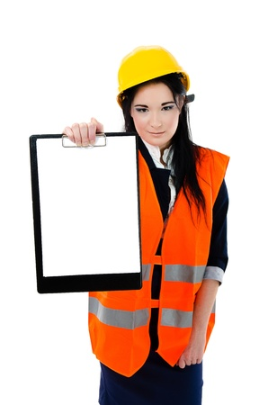 Woman engineer holding clipboard with space for your text photo
