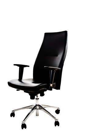 elbow chair:  Black leather office armchair isolated on white background - angle view