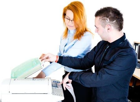 copy machine: Young bussinessman and businesswoman during copying files and documents Stock Photo
