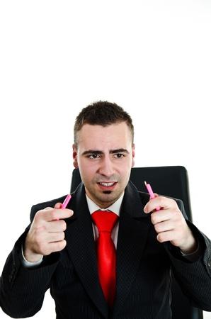 Sad businessman broke a pencil - isolated on white background Stock Photo - 12586383