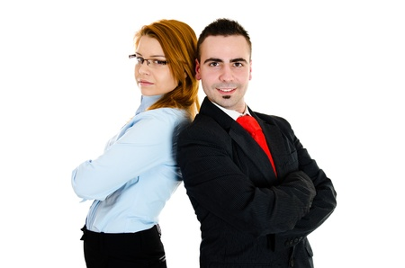 Businessman and businesswoman working in one team photo