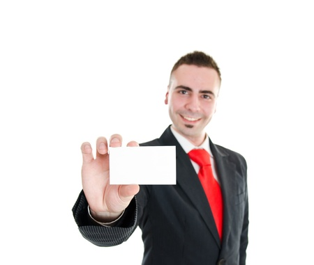 Manager showing blank business card with room for text  photo