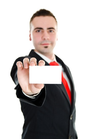 Businessman holding businesscard with room for your message photo