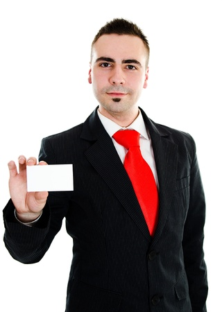 Young businessman showing businesscard with room for your text photo