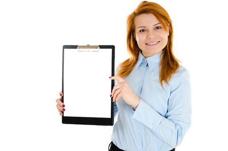 Pretty smiling redheaded woman holding blank board with space for text Stock Photo - 12782547
