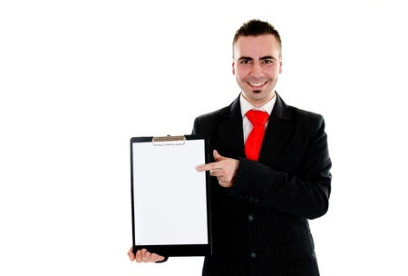Portait of businessman holding blank board with room for message photo