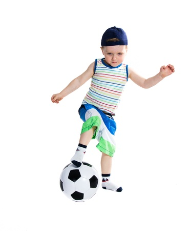 2-3 years little boy playing with ball - isolated on white background photo