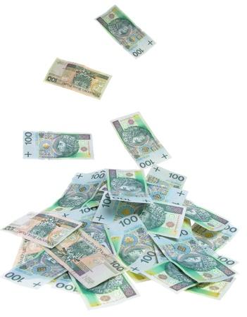 A Polish money 100 zlotys rain Stock Photo