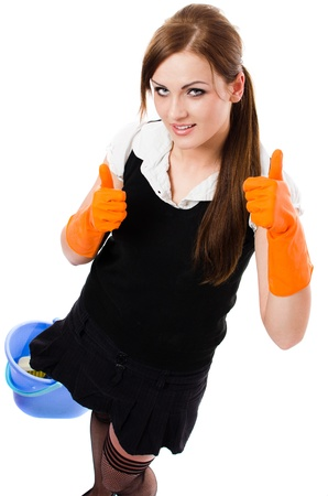 housewife gloves: Happy sexy cleaning woman - housemaid, elevated view - isolated on white background Stock Photo