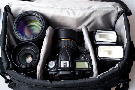 slr camera: Professional photographer camera bag