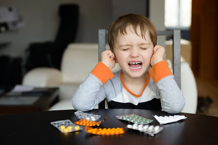 4 year old: 4 year old boy crying before swallowing medication at home